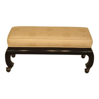 Hickory Asian Low Bench or Ottoman on Casters