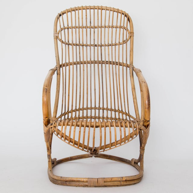 Franco Albini Rattan Lounge Chair & Ottoman - Image 6 of 11