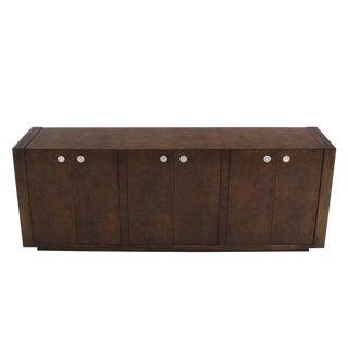Dark Burl Walnut Six-Door Credenza Dresser