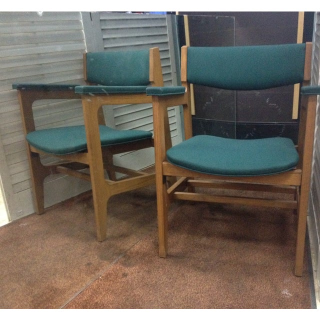 Teal Mid-Century Modern Arm Chairs - Set of 4 - Image 2 of 6