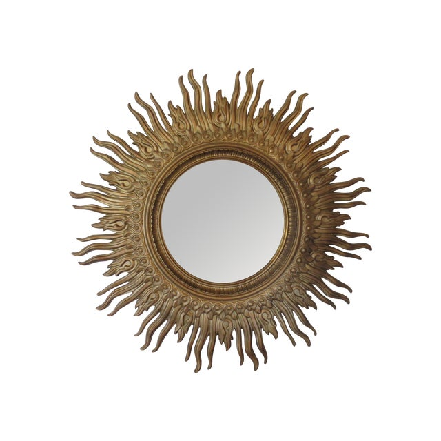 Vintage 1970s Gold Sunburst Mirror - Image 1 of 6