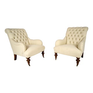 Continental-Style Tufted Bergeres - A Pair