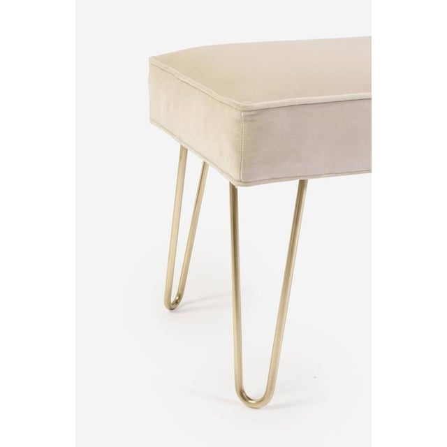 Petite Brass Hairpin Ottomans in Oyster Velvet by Montage - Image 6 of 8