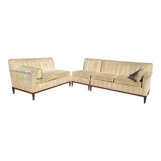 Mid-Century Modern Striped Sectional Sofa - Set of 3