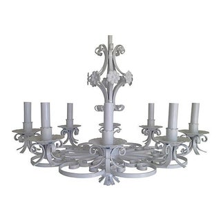 1940s Lacquered Wrought Iron Chandelier