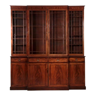 1790s Antique English George III Mahogany Breakfront Cabinet