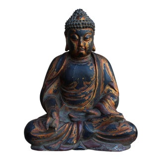Chinese Golden Brown Wooden Meditation Sitting Buddha Statue