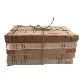Vintage French Parchment Colored Books - Set of 5