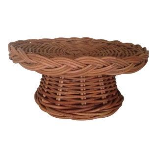 Vintage Rattan Cake Pedestal Stand
