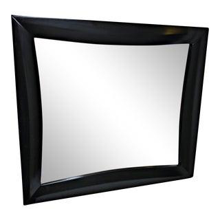 Satin Black Wooden Modernist Mirror