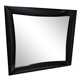 Satin Black Wooden Modernist Mirror