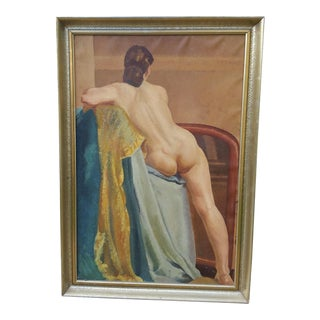 French Nude Portrait Oil on Canvas Painting