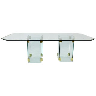 Mid-Century Modern Glass & Brass Dining Table