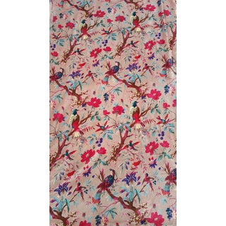 Cream Velvet Vibrant Bird Cotton Velvet
