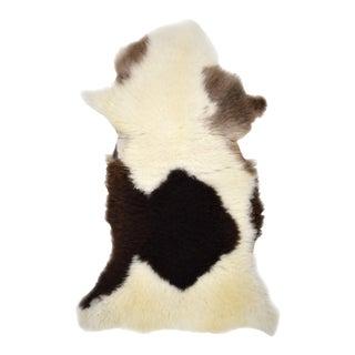 "Authentic Rare Handmade White Brown Black Sheepskin Rug, Genuine Sheepskin Pelt Throw - 2'7"" X 4'0"""