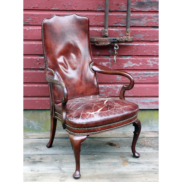 World Market Red Leather Chair: Distressed Burgundy Leather & Mahogany Arm Chair