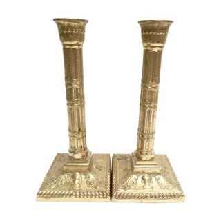Solid Brass Pillar Candlestick Holders - A Pair
