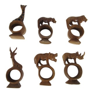 African Hand-Carved Animal Napkin Rings - Set of 6
