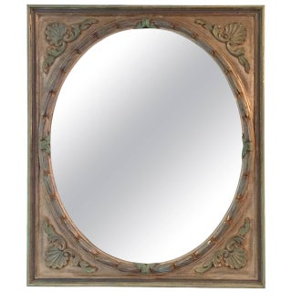 Vintage Painted Carved Wood Mirror
