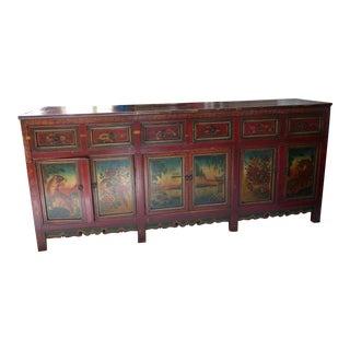 Elegant Antique Tibetan Style Credenza