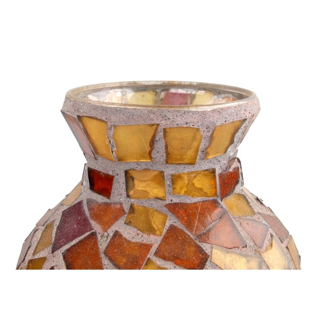 Amber Glass Mosaic & Terracotta Vase - Image 3 of 6
