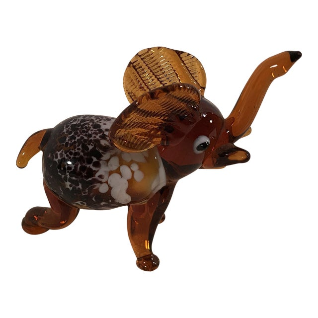 Vintage Blown Art Glass Brown Elephant - Image 1 of 8