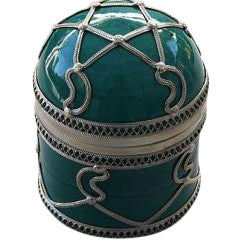 Teal Ceramic Jar with Silver Inlay