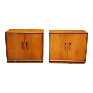Vintage Mid Century Modern Walnut Cabinets End Tables Nightstands Chests - a Pair