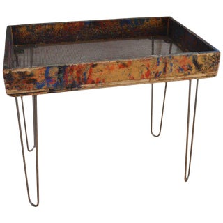 Side Table / Plant Stand on from Factory Paint Box with Screen Bottom