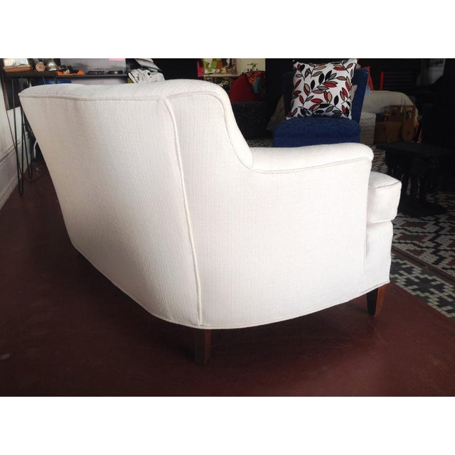 Image of Contemporary White Chenille Loveseat