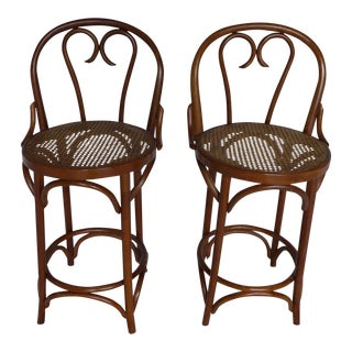 Thonet Bent Wood Caned Bar Stools - A Pair