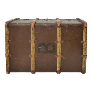 Vintage French Trunk With Wooden Ribs