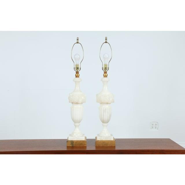 Vintage Alabaster Carved Lamps - A Pair - Image 3 of 7