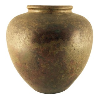 Japanese Bronze Raku Fired Vase