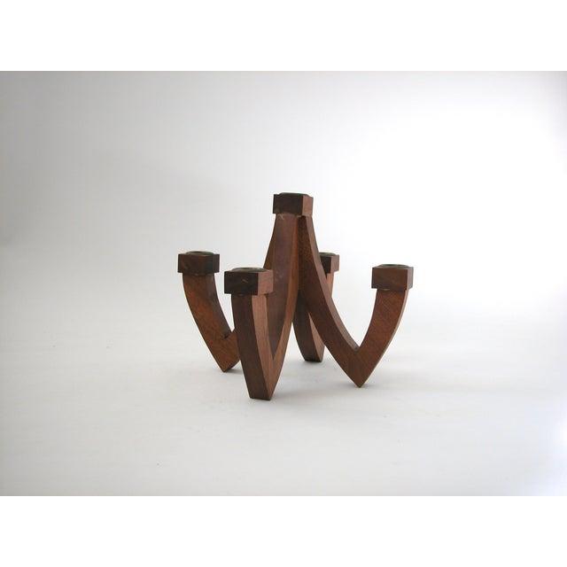 Image of Mid-Century Wood Candle Holder