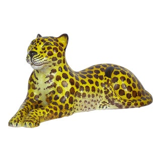 Mid-Century Modern Italian Ceramic Cheetah Sculpture Hollywood Regency Style MCM Italy Majolica