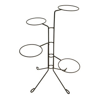 1950s Vintage Atomic Multi-Tier Bent Iron Planter / Plant Stand