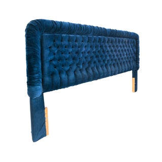 Custom Blue Velvet Tufted Headboard