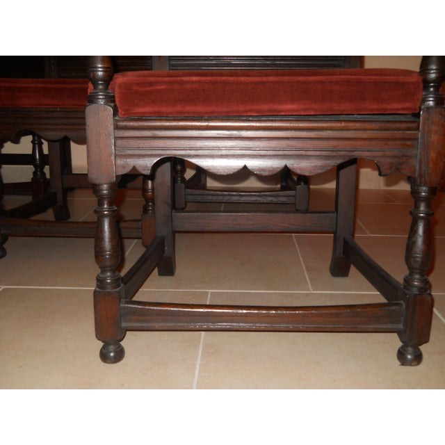 Jacobean Carved Oak Dining Chairs - Set of 8 - Image 7 of 7
