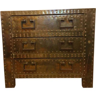 Sarreid Brass Clad Chest With Hand Hammered Nails