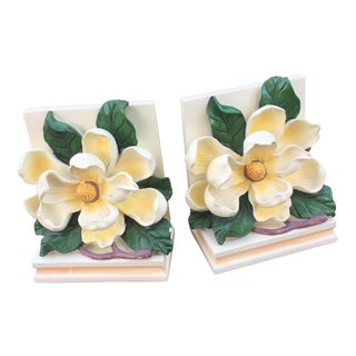 Vintage Magnolia Blossom Bookends - A Pair