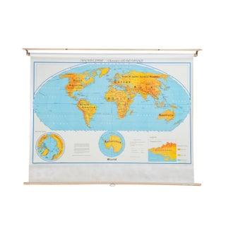 Vintage 1970s Denoyer Geppert World Pull Down Map