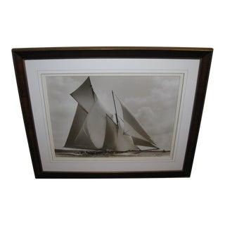 Framed Turn of the Century Yacht Photograph From Frank Beken