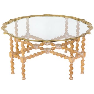 Brass & Glass Coffee Table On Wood Base