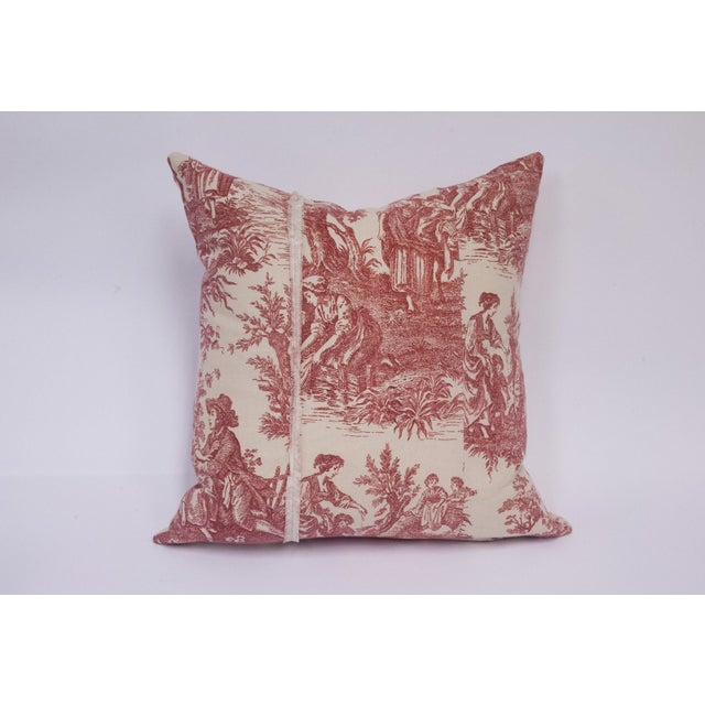 Red & Cream Deconstructed Toile Pillows - A Pair - Image 3 of 8