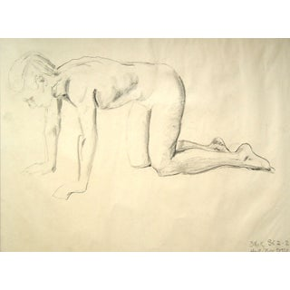 Charcoal Figural Study Drawing, 1950