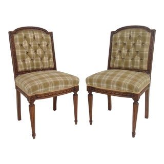 Antique French Walnut Side Chairs - A Pair