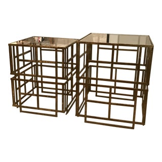 Copper Gold Geometric Trellis Stacking Side Tables - A Pair