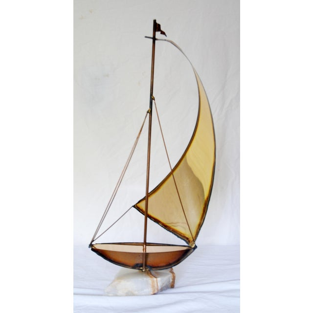 Vintage Metal and Onyx Sailboat Tabletop Sculpture - Image 4 of 5