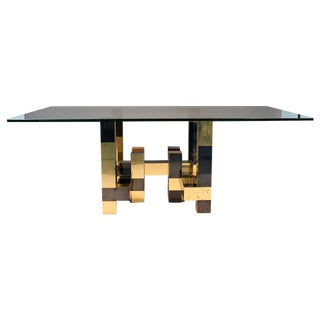 Paul Evans Brass and Iodized Black Dining Table